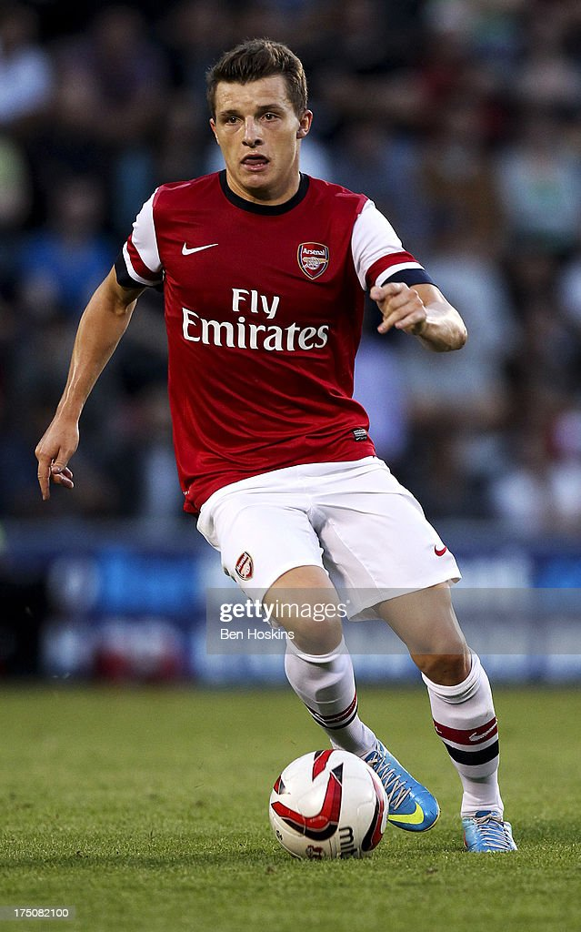 Thomas Eisfield of Arsenal in action during a pre season friendly match between Leyton Orient and an Arsenal XI at the Matchroom Stadium on July 30, 2013 in London, England.