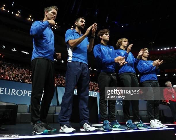 Thomas Enqvist Marin Cilic Dominic Thiem Alexander Zverev and Tomas Berdych of Team Europe applaud after Roger Federer and Rafael Nadal of Team...