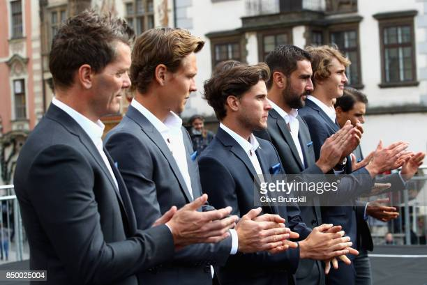 Thomas Enqvist of Sweden Tomas Berdych of Czech Republic Dominic Thiem of Austria Marin Cilic of Croatia and Alexander Zverev of Germany greet the...