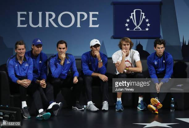Thomas Enqvist Tomas Berdych Roger Federer Fernando Verdasco Alexander Zverev and Dominic Thiem of Team Europe look on as Marin Cilic of Team Europe...