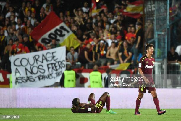 Thomas Ephestion and Mouaad Madri of Lens looks dejected during the French Ligue 2 match between match between Auxerre and Lens at Stade Abbe...
