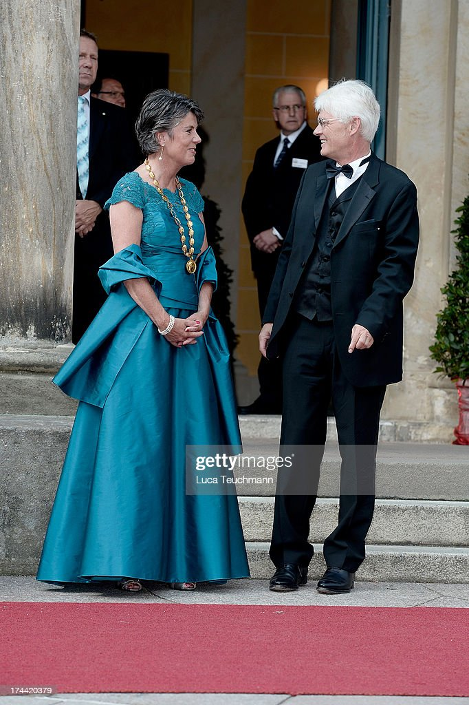 Thomas Erb and Brigitte Merk-Erb attend the Bayreuth Festival opening on July 25, 2013 in Bayreuth, Germany.