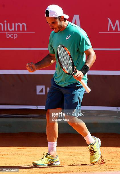 Thomas Fabbiano from Italy celebrates after a winning point during the match between Thomas Fabbiano and Stephane Robert for Millennium Estoril Open...