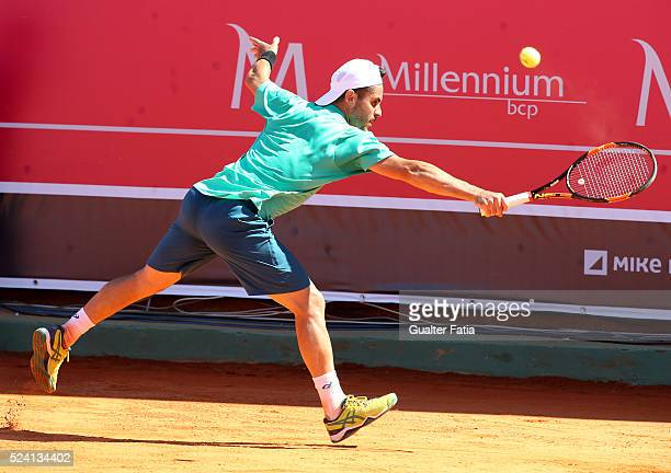 Thomas Fabbiano from Italy in action during the match between Thomas Fabbiano and Stephane Robert for Millennium Estoril Open at Clube de Tenis do...