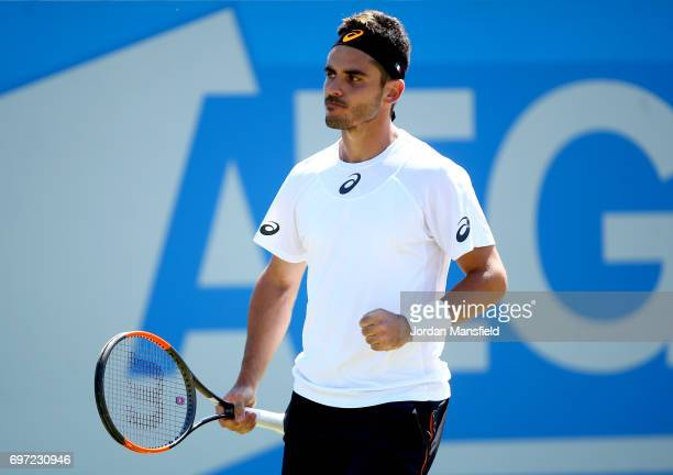 Thomas Fabbiano of Italy celebrates a point during his Men's Singles final match against Dudi Sela of Israel during day 7 of the Aegon Open...