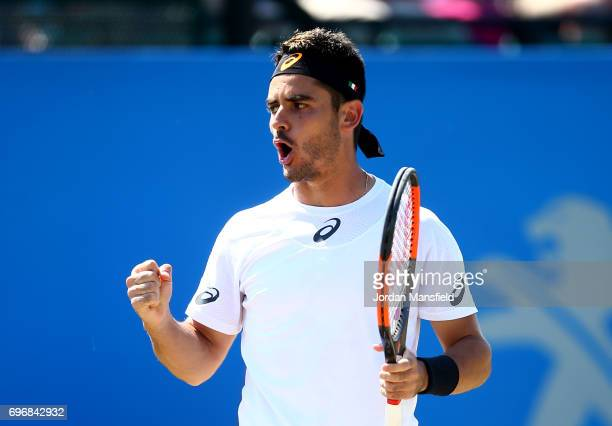 Thomas Fabbiano of Italy celebrates a point during his semifinal match against Sam Groth of Australia during day six of the Aegon Open Nottingham at...