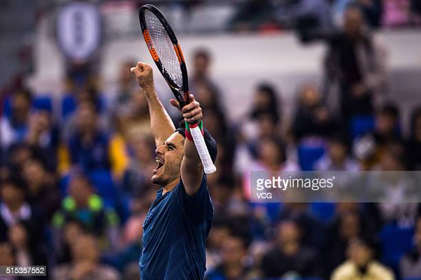 Thomas Fabbiano of Italy celebrates in the men's singles final match against Zhang Ze of China during 2016 ATP Zhuhai Challenger on March 13 2016 in...