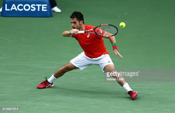 Thomas Fabbiano of Italy in action against Tomas Berdych of Czech Republic during day five of the ATP Dubai Duty Free Tennis Championship at the...