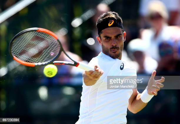 Thomas Fabbiano of Italy plays a forehand during his Men's Singles final match against Dudi Sela of Israel during day 7 of the Aegon Open Nottingham...