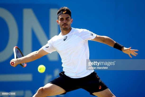 Thomas Fabbiano of Italy plays a forehand during his semifinal match against Sam Groth of Australia during day six of the Aegon Open Nottingham at...