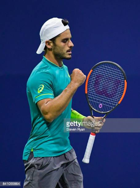 Thomas Fabbiano of Italy reacts against Jordan Thompson of Australia during their second round Men's Singles match on Day Three of the 2017 US Open...