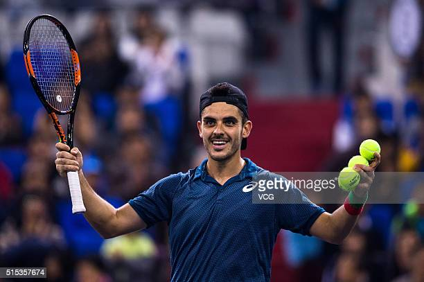 Thomas Fabbiano of Italy reacts in the men's singles final match against Zhang Ze of China during 2016 ATP Zhuhai Challenger on March 13 2016 in...