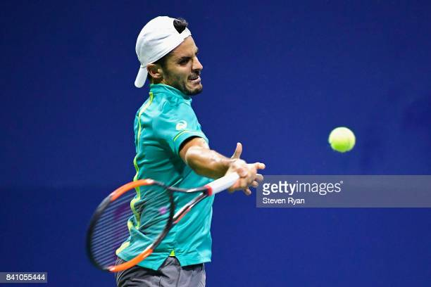 Thomas Fabbiano of Italy returns a shot against Jordan Thompson of Australia during their second round Men's Singles match on Day Three of the 2017...