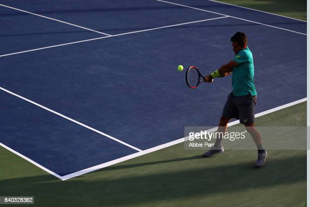 Thomas Fabbiano of Italy returns a shot during his first round Men's Singles match against JohnPatrick Smith of Australia on Day One of the 2017 US...
