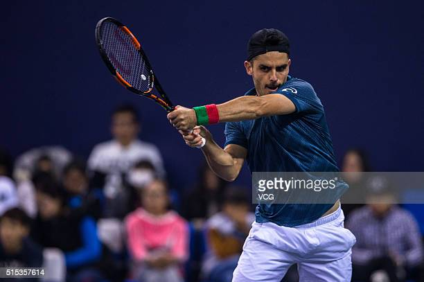 Thomas Fabbiano of Italy returns a shot in the men's singles final match against Zhang Ze of China during 2016 ATP Zhuhai Challenger on March 13 2016...