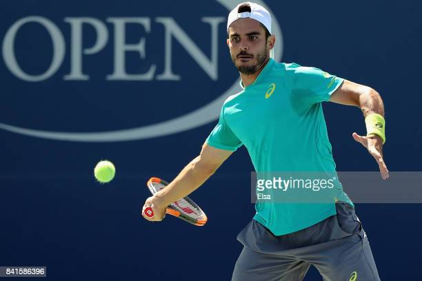 Thomas Fabbiano of Italy returns a shot to Paolo Lorenzi of Italy during their third round match on Day Five of the 2017 US Open at the USTA Billie...