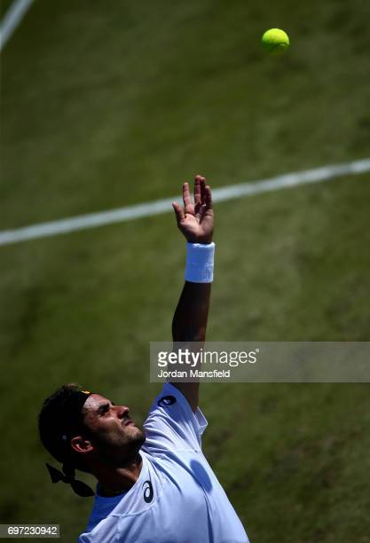 Thomas Fabbiano of Italy serves during his Men's Singles final match against Dudi Sela of Israel during day 7 of the Aegon Open Nottingham at the...