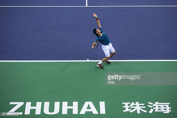 Thomas Fabbiano of Italy serves to Zhang Ze of China in the men's singles final match during 2016 ATP Zhuhai Challenger on March 13 2016 in Zhuhai...