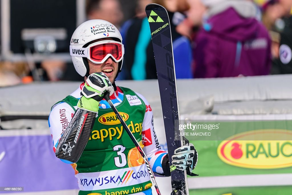 <a gi-track='captionPersonalityLinkClicked' href=/galleries/search?phrase=Thomas+Fanara&family=editorial&specificpeople=803965 ng-click='$event.stopPropagation()'>Thomas Fanara</a> of France reacts in the finishing area after placing third in the FIS World Cup Giant Slalom race in Kranjska Gora, Slovenia on March 14, 2015. AFP PHOTO / JURE MAKOVEC