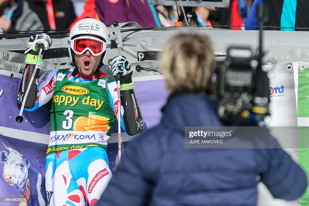 <a gi-track='captionPersonalityLinkClicked' href=/galleries/search?phrase=Thomas+Fanara&family=editorial&specificpeople=803965 ng-click='$event.stopPropagation()'>Thomas Fanara</a> of France reacts in the finishing area after placing third in the FIS World Cup Giant Slalom race in Kranjska Gora, Slovenia on March 14, 2015.