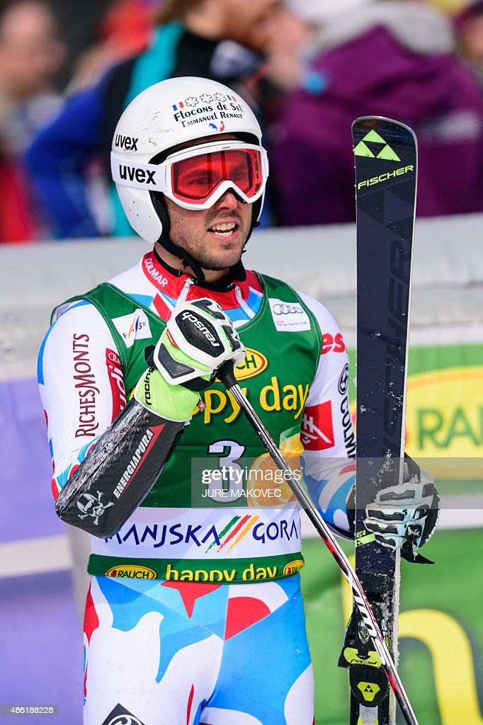 <a gi-track='captionPersonalityLinkClicked' href=/galleries/search?phrase=Thomas+Fanara&family=editorial&specificpeople=803965 ng-click='$event.stopPropagation()'>Thomas Fanara</a> of France reacts in the finishing area during the FIS World Cup Giant Slalom race in Kranjska Gora, Slovenia on March 14, 2015. AFP PHOTO / JURE MAKOVEC
