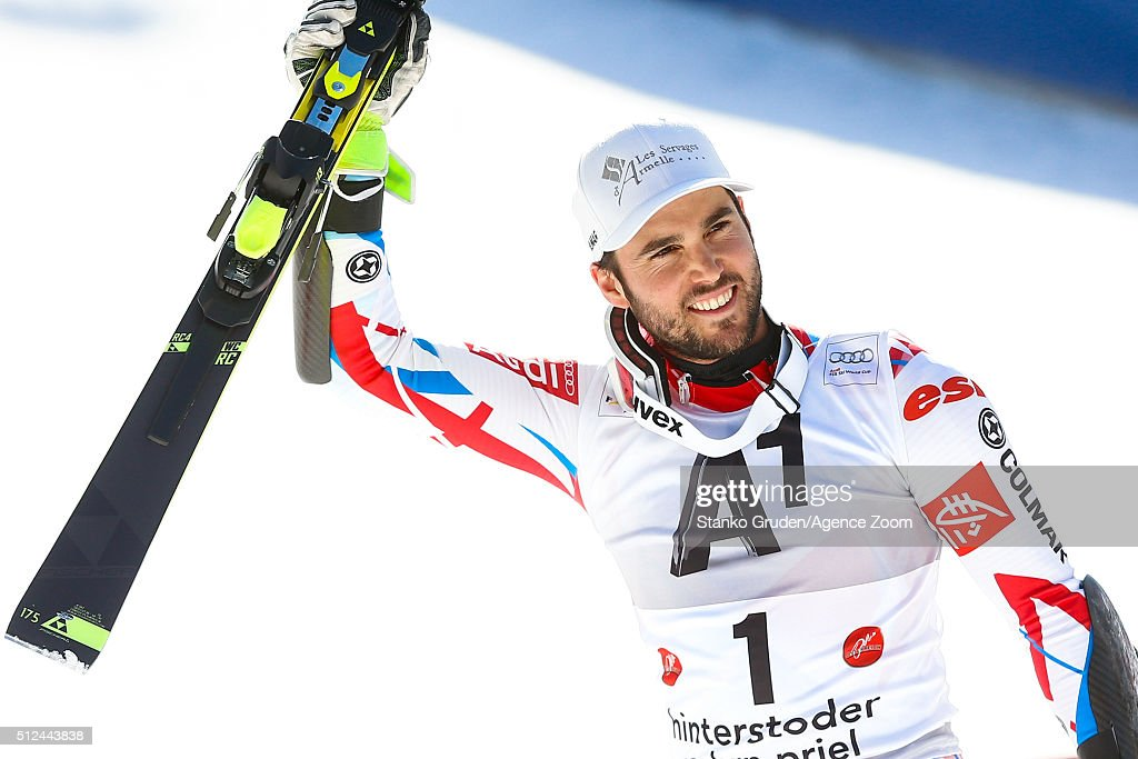<a gi-track='captionPersonalityLinkClicked' href=/galleries/search?phrase=Thomas+Fanara&family=editorial&specificpeople=803965 ng-click='$event.stopPropagation()'>Thomas Fanara</a> of France takes 3rd place during the Audi FIS Alpine Ski World Cup Men's Giant Slalom on February 26, 2016 in Hinterstoder, Austria.