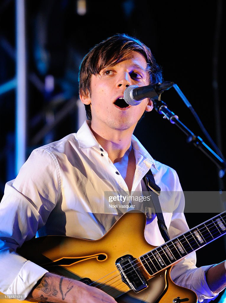Thomas Fekete of Surfer Blood performs at KCRW's Twilight Concert Series on July 11, 2013 in Santa Monica, California.