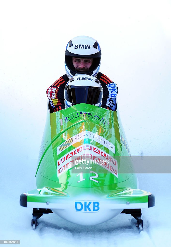 Thomas Florschuetz and Andreas Bredau of Germany are seen after the Two Men Bobsleigh final heat of the IBSF Bob & Skeleton World Championship at Olympia Bob Run on January 27, 2013 in St Moritz, Switzerland.