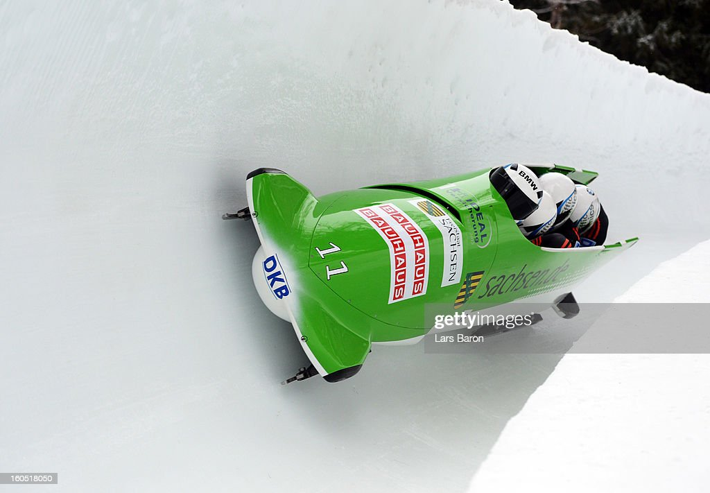 Thomas Florschuetz, Andreas Bredau, Ronny Listner and Thomas Blaschek of Germany compete during the Four Men Bobsleigh heat one of the IBSF Bob & Skeleton World Championship at Olympia Bob Run on February 2, 2013 in St Moritz, Switzerland.