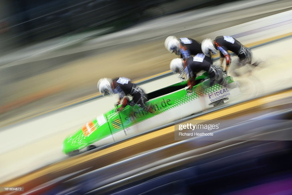 Thomas Florschuetz of Germany launches his sled during the 4 man Bobsleigh Viessman FIBT Bob & Skeleton World Cup at the Sanki Sliding Center in Krasnya Polyana on February 17, 2013 in Sochi, Russia. Sochi is preparing for the 2014 Winter Olympics with test events across the venues.