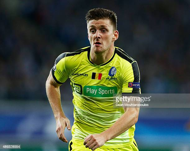 Thomas Foket of Gent in action during the UEFA Champions League Group H match between KAA Gent and Olympique Lyonnais held at Ghelamco Arena on...