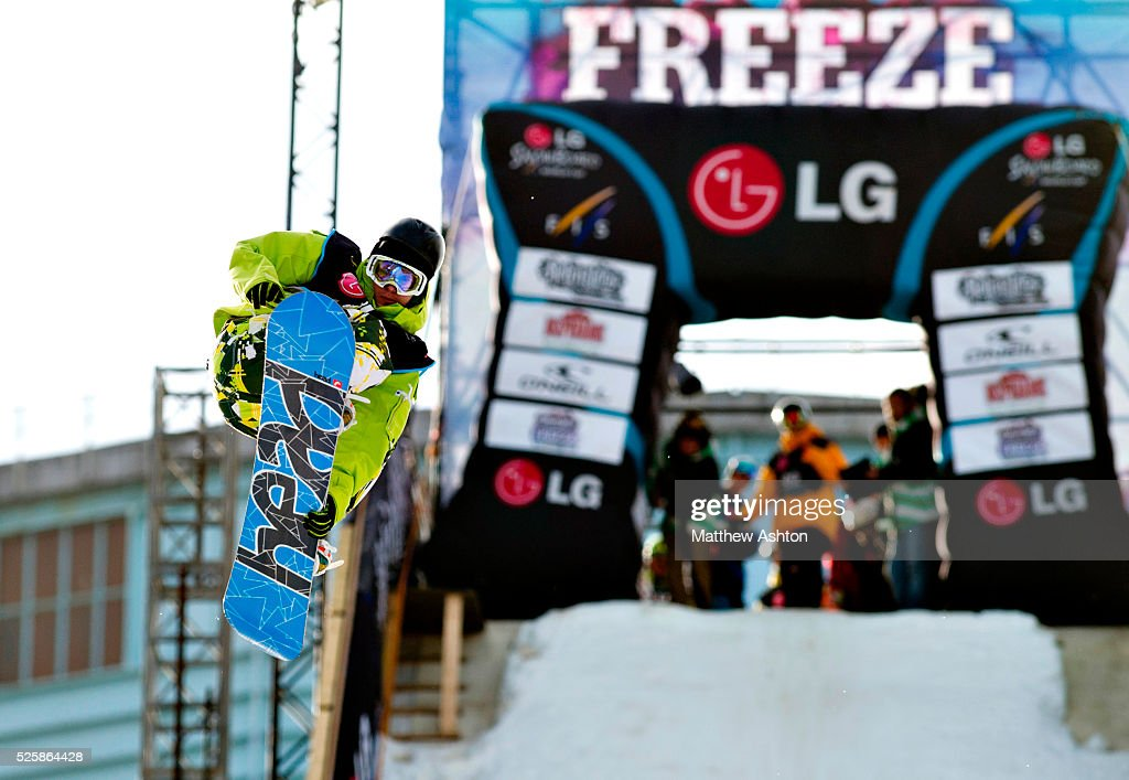 Thomas Franc from Switzerland competing in the LG Snowboard International Ski Federation in London