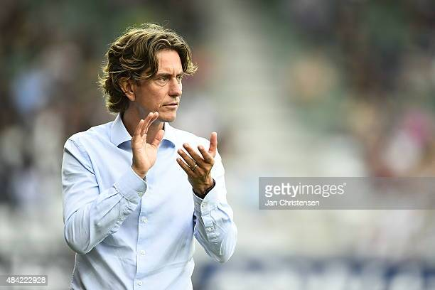 Thomas Frank head coach of Brondby IF in action during the Danish Alka Superliga match between Viborg FF and Brondby IF at Energi Viborg Arena on...