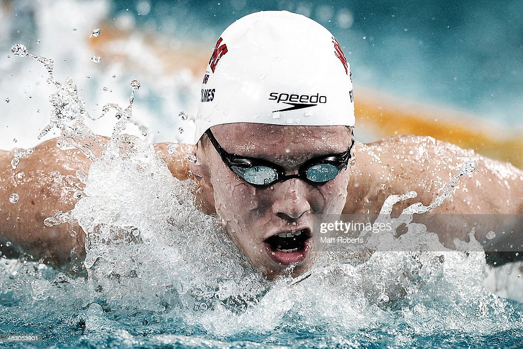 Thomas Fraser-Holmes competes in the final of the Mens 200 metre Individual Medley event during the 2014 Australian Swimming Championships at Brisbane Aquatic Centre on April 6, 2014 in Brisbane, Australia.