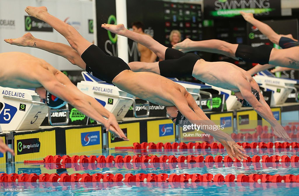 Thomas Fraser-Holmes of Australia dives in to start the Men's 200 Metre Freestyle Heats during day two of the Australian Swimming Championships at SA Aquatic and Leisure Centre on April 27, 2013 in Adelaide, Australia.