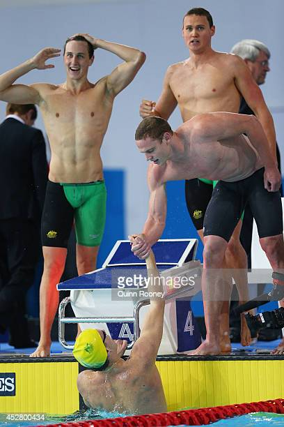 Thomas FraserHolmes of Australia is congratulated by team mates Cameron McEvoy David McKeon and Ned McKendry after winning the gold medal in the...