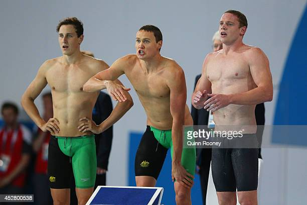 Thomas FraserHolmes of Australia is encouraged by team mates Cameron McEvoy David McKeon and Ned McKendry on the way to winning the gold medal in the...