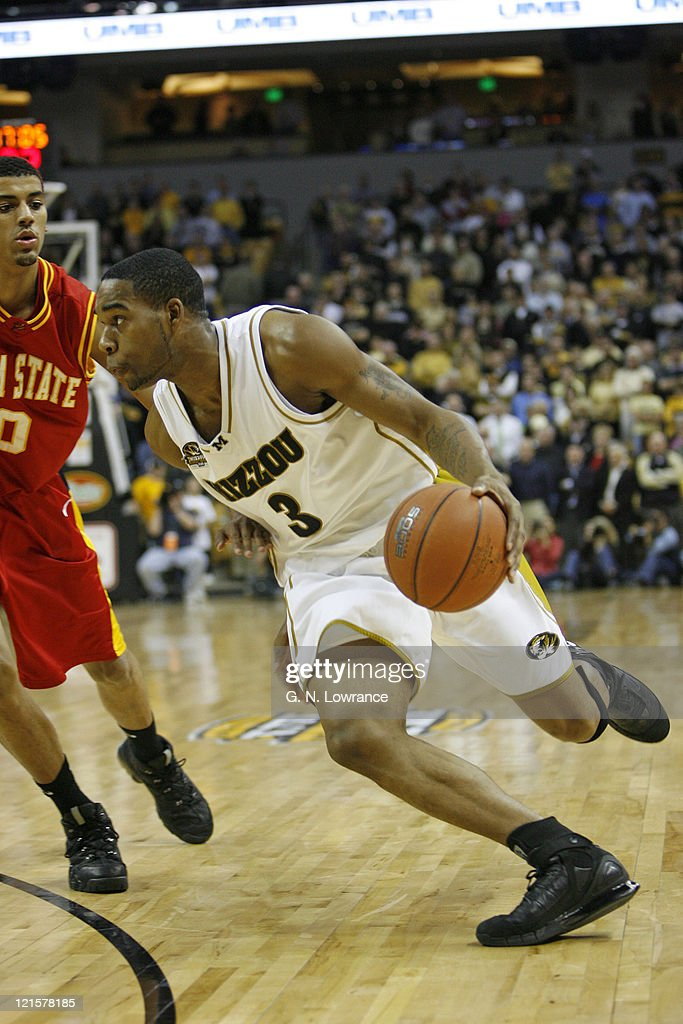 Thomas Gardner of the Missouri Tigers drives the ball during 1st half action against the Iowa State Cyclones at Mizzou Arena in Columbia Missouri on...