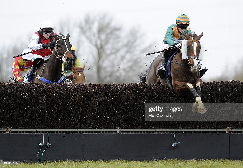 Thomas Garner riding Five Rivers (R) clear the last to win The Weatherbys Supports The Prince's Trust Handicap Steeple Chase at Huntingdon racecourse on March 03, 2013 in Huntingdon, England.