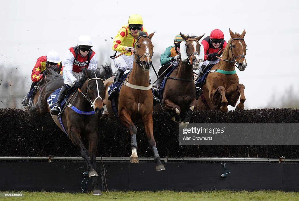 Thomas Garner riding Five Rivers (2R) on their way to winning The Weatherbys Supports The Prince's Trust Handicap Steeple Chase at Huntingdon racecourse on March 03, 2013 in Huntingdon, England.