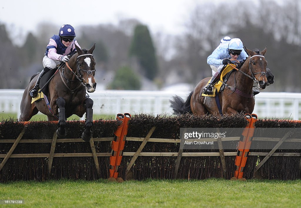 Thomas Garner riding Kuilsriver (L) clear the last to win The Betfair Don't Settle for Less Handicap Hurdle Race at Ascot racecourse on February 16, 2013 in Ascot, England.