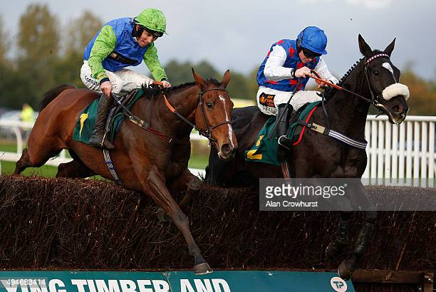 Thomas Garner riding Milgen Bay clear the last to win The Reinhold Jockeys' Medical Room At Fakenham Handicap Steeple Chase at Fakenham racecourse on...