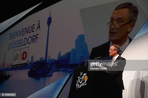 Thomas Geisel the Mayor of Dusseldorf and host of the opening stage during Le Tour de France 2017 Route Announcement at the Palais des Congres on...