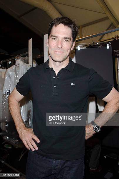Thomas Gibson poses for a photo during the Lacoste 2013 MercedesBenz Fashion Week Show at The Theatre Lincoln Center on September 8 2012 in New York...