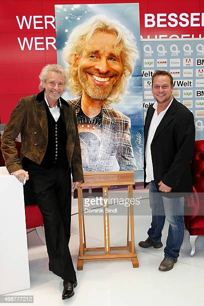 Thomas Gottschalk and Bernhard Prinz attend the Querdenker Award 2015 at BMW World on November 25 2015 in Munich Germany