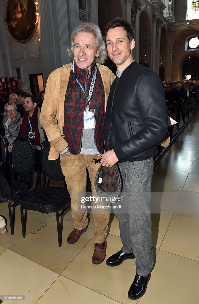 Thomas Gottschalk and Florian David Fitz during the 21th BMW advent charity concert at Jesuitenkirche St. Michael on December 10, 2016 in Munich, Germany.