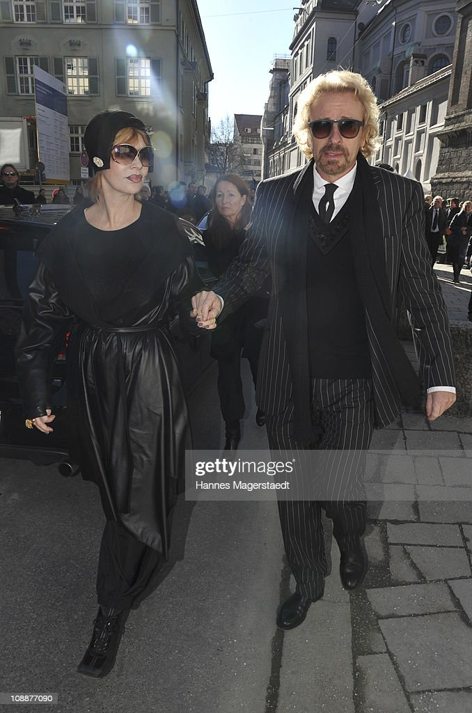 Thomas Gottschalk and his wife Thea attend the memorial service for Bernd Eichinger at the St. Michael Kirche on February 07, 2011 in Munich, Germany. Producer Bernd Eichinger died of a heart attack in Los Angeles on January 24. Leading the Constantin Film he produced films like 'Perfume', 'Christiane F.', 'Smillas Sense of Snow' or 'Der Untergang' receiving multiple awards.
