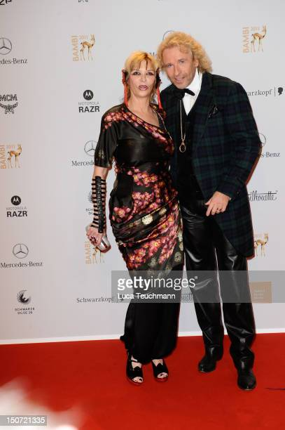 Thomas Gottschalk and wife Thea Gottschalk attend the Red Carpet for the Bambi Award 2011 ceremony at the RheinMainHallen on November 10 2011 in...
