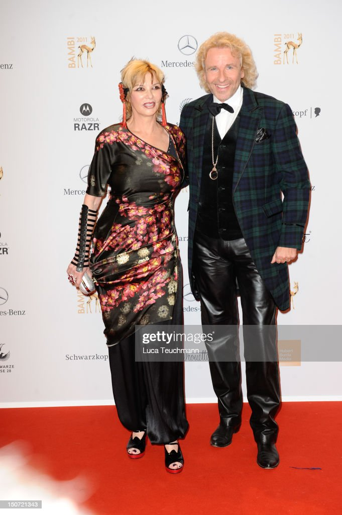 Thomas Gottschalk and wife Thea Gottschalk attend the Red Carpet for the Bambi Award 2011 ceremony at the Rhein-Main-Hallen on November 10, 2011 in Wiesbaden, Germany.