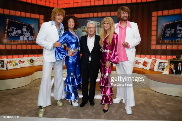 Thomas Gottschalk Barbara Schoeneberger Frank Elstner Michelle Hunziker and Guenther Jauch during the photo call for TV Show 'Top die Wette gilt 75...